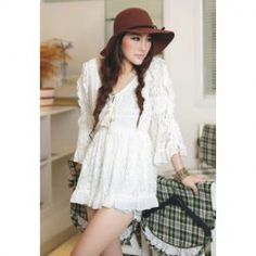 $11.35 Retro Style V-Neck Chiffon Splice Solid Color Trumpet Sleeve Lace Dress For Women