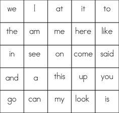 sight word bingo card 6