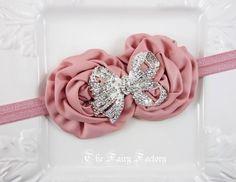 Mauve Pink Flower Headband, Mauve Satin Rosette Duo w/ Large Crystal Bow Stretchy Headband, Baby Toddler Child Girls Headband by TheFairyFactoryShop on Etsy https://www.etsy.com/listing/122473582/mauve-pink-flower-headband-mauve-satin