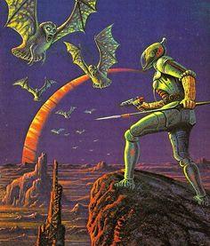 Ray Feibush - Spectrum Of A Forgotten Sun, The Science Fiction Gallery Art Science Fiction, Pulp Fiction, Art Soleil, Futurism Art, Arte Sci Fi, 70s Sci Fi Art, New Retro Wave, Arte Cyberpunk, Classic Sci Fi