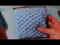bolso punto de concha y monederos de anillas a crochet - YouTube