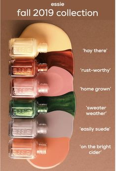 it's time to get back to your roots and explore the home grown countryside with the essie fall 2019 collection of six autumn nail polish shades. as … – Nails Club Autumn Nails, Winter Nails, Vernis Rose Pale, Hair And Nails, My Nails, Dead Makeup, Fall Nail Colors, Essie Nail Polish Colors, Polish Nails