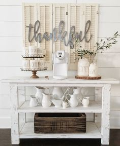 Simple vintage/rustic coffee bar.