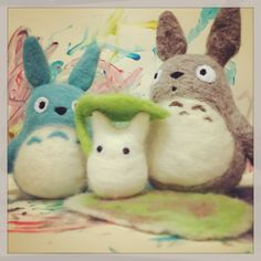 My needle felted Totoro family
