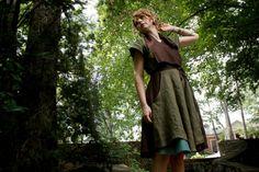 Linen Traveler Dress -- With Circle Skirt and Pockets. $158.00, via Etsy.