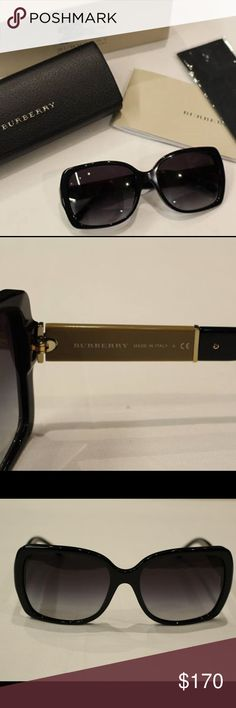 NWT Burberry Sunnies New in the box Black frames with signature checkered print on the sides Gold detailing Perfect gift! - price firm no trades - buy for less at www.chicboutiqueconsignments.com Burberry Accessories Sunglasses