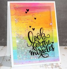 Look For the Miracles rainbow shaker card featuring Simon Says Stamp June 2016 Card Kit. #simonsaysstamp #sssck