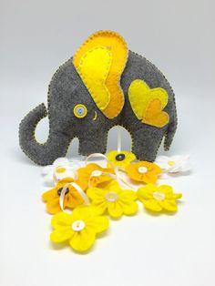Handmade Yellow and gray Felt Elephant with big ears & dangling flowers, hanging elephant mobile for jungle or Safari nursery or crib decor.