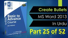25 Create Bullets in MS Word 2013 in Urdu