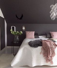 Grey Black and White Bedroom Lovely the Gorgeous Bedroom Of Jorunn Ls Love the Black Pink and Pink Bedroom Decor, Master Bedroom Interior, Pink Bedrooms, Bedroom Colors, Home Interior, Interior Design, Bedroom Ideas, Charcoal Bedroom, Bedroom Black