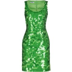 Moschino Cheapandchic Short Dress ($475) ❤ liked on Polyvore featuring dresses, acid green, mini dress, short green cocktail dress, sleeveless cocktail dress, jersey dress and short sequin dress