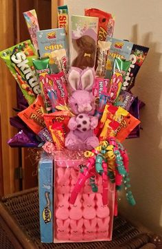 Candy centerpieces candy topiary candy land theme party ideas happy easter candy basket by anitaevelyn on etsy negle Images