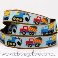 diggers and dump trucks ribbon (17mm wide) [per metre]