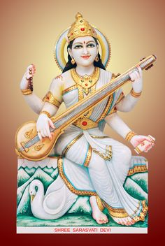 Indian goddess of knowledge, education & wisdom. Jai Maa Saraswati, Saraswati Goddess, Indiana, Sai Baba Hd Wallpaper, Jain Temple, Indian Goddess, Radha Rani, Pinterest Images, Gods And Goddesses