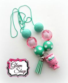 Shopkins Chain Necklace ICE CREAM DREAM Charm by GlamShopBeads