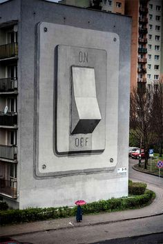 Spanish street artist escif recently painted this giant on/off switch on the side of a building in Poland for the Katowice Street Art Festival. via My Modern Metropolis & Street Art News 3d Art, Art Photography, Chalk Art, Art Festival, Public Art, Amazing Art, Amazing Street Art, Sidewalk Art, Graffiti Art