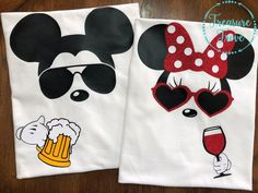 Mickey & Minnie Drinking Shirts / Epcot Food and Wine / Couples Disney Shirts The perfect couples shirts for your. Disney World Shirts, Disney Couple Shirts, Disneyland Shirts, Disney Couples, Disney World Trip, Disney Diy, Disney Vacations, Disney Trips, Pijama Disney