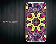 iphone 4 cases iphone 4s case iphone 4 cover classic colorized purple yellow  pattern design. $13.99, via Etsy.