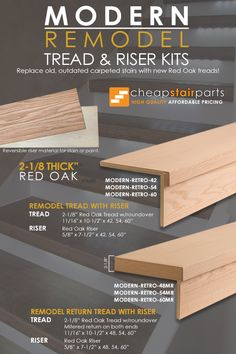 """Cheap Stair Parts - Shop Iron Balusters, Handrail, Treads & Newels- These innovative kits allow you to transform outdated stairs into new stylish stairs in no time at all! Get the """"look"""" of thick, solid treads at a fraction of the price! Cheap Stair Parts, Parts Of Stairs, Staircase Makeover, Basement Makeover, Stairs Revamp, Wood Stair Treads, Banisters, Stair Railing, Stair Renovation"""