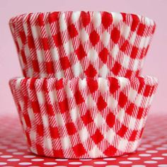 """- Red Gingham Baking Cups - Baking cups featuring a classic red gingham pattern. - Made from a very nice quality medium-weight Swedish greaseproof paper. - Standard Size Cups 2""""(5cm) bottom x 1-1/4""""(3"""