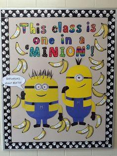 """Minion bulletin board - Despicable Me Caption: This """"school"""" is . Minion Bulletin Board, Minion Classroom Theme, Counselor Bulletin Boards, Minion Theme, Classroom Board, Classroom Walls, Classroom Bulletin Boards, Music Classroom, Classroom Themes"""