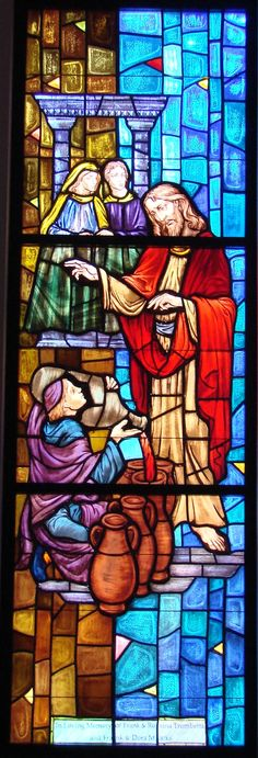 .Jesus Christ depicted carrying out His first miracle at the wedding in Cana. #StainedGlassChurch