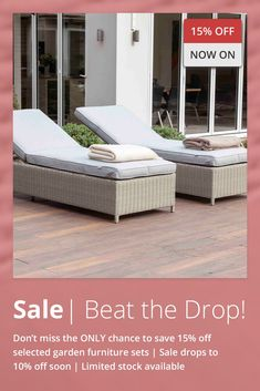 EnviroBuild are offering the biggest discount on Garden Furniture of the Year. Order Now and get 15% off before the discount drops to 10%. All sets carry a unique 12 year Guarantee & a 30 day money back guarantee including Free Returns . We use 100% recycled plastic and with each purchase you will save up to 7.17 acres of Rain Forest too! What is not to like? Limited Stock, so Order Now to Avoid Disappointment Swimming Pool Landscaping, Swimming Pools, Luxury Garden Furniture, Corner Sofa Set, Home Exterior Makeover, Back Gardens, Sun Lounger, Garden Design, Disappointment