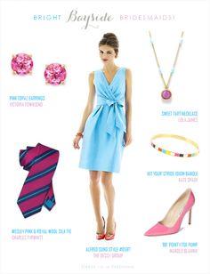 Robin's Egg Blue Wedding Look   Blue + Pink Bridesmaids