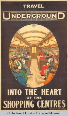 Travel into the heart of the shopping centres, by unknown artist, 1908    Published by Underground Electric Railway Company Ltd, 1908  Printed by Johnson, Riddle & Company Ltd,  Format: Double royal  Dimensions: Width: 620mm, Height: 1000mm  Reference number: 1983/4/9