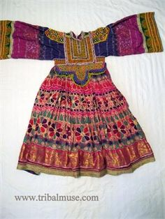 Afghan Women's Vintage Tribal Dress - Traditional Embroidery
