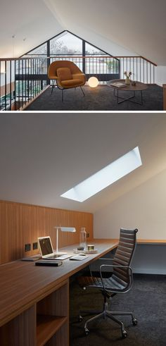 This modern house extension features a mezzanine set up as a study with a built-in desk and skylight. #study #HomeOffice #InteriorDesign