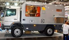 The Bimobil EX 480 on the floor of the 2013 Dusseldorf Caravan Salon Overland Truck, Expedition Vehicle, Bike Friday, Cargo Trailer Conversion, Off Road Camping, Mercedes Truck, Offroader, Adventure Campers, Bug Out Vehicle