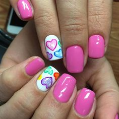 Simple Nail Art Designs That You Can Do Yourself – Your Beautiful Nails Nail Design Glitter, Nail Design Spring, Nails Design, Valentine's Day Nail Designs, Acrylic Nail Designs, Acrylic Nails, Heart Nail Designs, Acrylic Colors, Trendy Nail Art