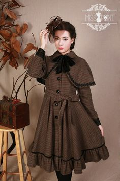● ● Mocha original design forest-vintage retro elegant wool coat cape coat ● - Taobao
