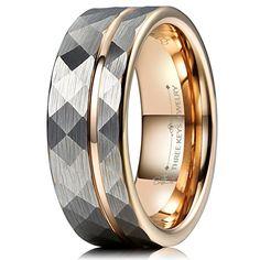 Frank S.Burton 6mm 8mm Black Tungsten Wedding Band Rings for Men Women Hammered Rose Gold Line Ring Comfort fit Size 5-14