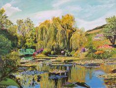 Ogród Wodny Moneta obraz olejny, autor Tomasz Mrowiński Garden Monet at Giverny oil painting