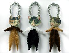 Cat Ornaments - Handmade Christmas Tree Ornaments - Victorian Calico Cats. $10.50, via Etsy.