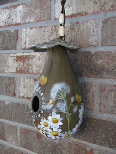 Handpainted Gourd Birdhouse Very Unique by gourdartistIam on Etsy