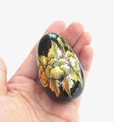 Wood Egg Figurine, Painted Black / Gold Floral
