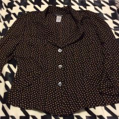 Jones New York silk light blazer JNY black floral silk blazer very cute and fitted runs really small it's a size 8 but fits like a 4. Jones New York Tops Blouses