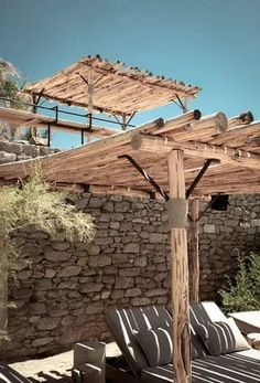 Drink wine at Scorpios Upon your return to Mykonos the designer recommends a bar that is situated between Paraga beach... Wooden Pergola, Backyard Pergola, Pergola Shade, Gazebo, Outdoor Pergola, Pergola Ideas, Shade Garden, Outdoor Living, Outdoor Structures
