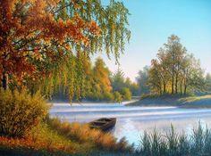 Bonjour boa semana e douce journée bisous ♥♥♥ Autumn Painting, Pour Painting, Autumn Art, Fall Paintings, Nature Paintings, Dream Pictures, Creation Photo, Autumn Scenes, Art Google
