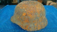 #Relic #WW2 #ORIGINAL #German #ARMY #M35 #Stahlhelm #Helmet #WWII #ANTI #GRANADE #NET #LINER