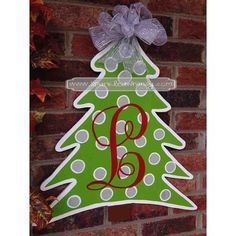wood stocking hanger ideas | Monogrammed Christmas Tree Door Hanger Sign by Sparkled Whimsy Ideas ...