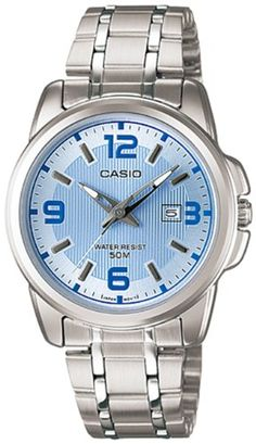 Casio Womens LTP1314D2AV Silver StainlessSteel Quartz Watch with Blue Dial >>> Want additional info? Click on the image.