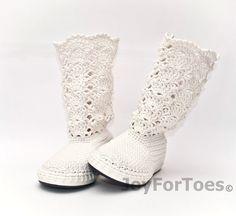 Crochet stivali stivali di pizzo bianco nozze fatta di JoyForToes