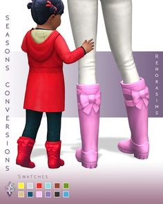 Hiya Everyone! Another day, another seasons age conversion! These boots are very cute on kids and to prevent them from getting huge (the adult version) I made them function differently in game then the other pair of Seasons (rain)boots. Unlike those...