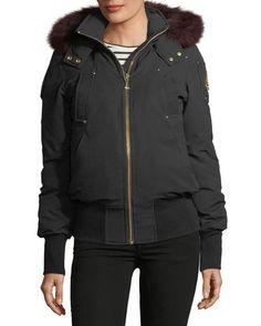 8f12824bd04 Latreille Zip-Front Bomber Jacket w/ Fur Collar Fur Collars, Nike Jacket,