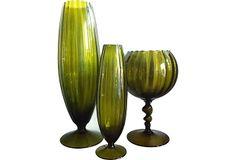 Olive Empoli Goblet & Vases, Set of 3