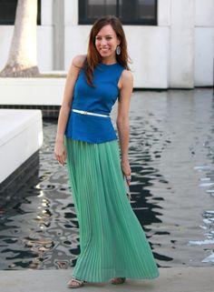 Colorblocking blue mint silver mermaid blogger style peplum top over maxi skirt dress